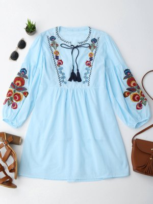 Long Sleeve Floral Embroidered Tunic Dress With Cami Tank Top - Light Blue S