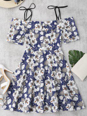 Self Tie Floral Printed Cami Dress - Floral L