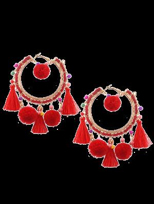 Fuzzy Ball Beaded Tassel Hoop Earrings - Red