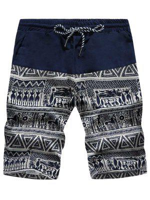 Drawstring Tribal Geometric Print Board Shorts