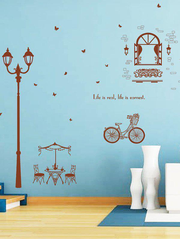 Autocollant mural à vinyle Lamppost à vélo