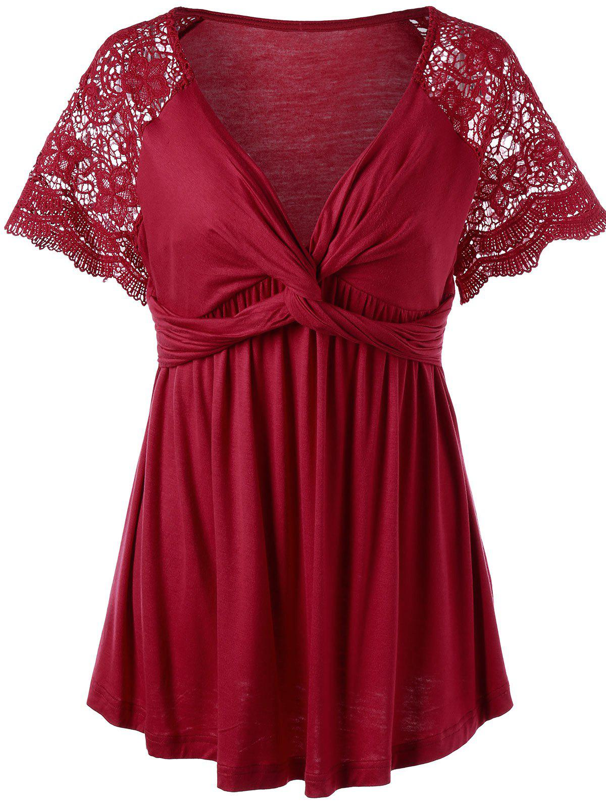 Plus Size Twist Knot Lace Panel Top 213625801