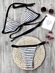 Striped Padded Adjustable String Bikini Set - White And Black S