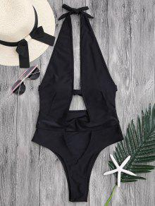 Cut Out High Leg Plunging Neck Monokini - Black S