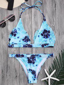 Bralette Tie-Dyed Ruffles Bathing Suit - Lake Blue S