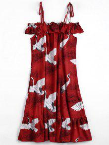Crane Graphic Ruffles Cold Shoulder Dress - Red S