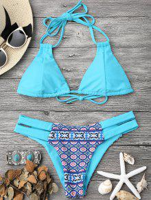 Printed Halter Padded Bikini Top And Bottoms - Turquoise S