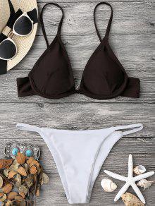 Color Block V String Underwire Bikini Set - White And Coffee L
