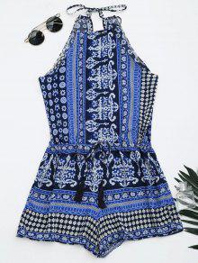 Tribal Print Cut Out Cami Romper - Blue M