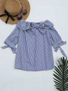 Bowknot Off The Shoulder Striped Blouse - Stripe