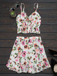 Floral Print Ruffles Cami Top Y Pantalones Cortos - Floral Xl