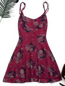 Criss Cross Floral Print Backless Dress - Floral L
