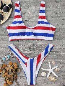 Padded Striped High Cut Scoop Bikini Set - Stripe M