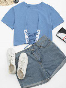 Round Collar Lace Up Tee - Light Blue M