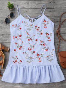 Ruffles Longline Floral Embroidered Tank Top - Stripe S