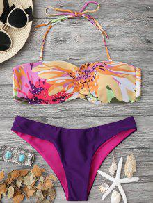 Padded Watercolor Bandeau Bikini Set - Multicolor L