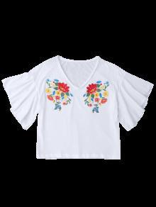 Volantes De 243;n Algod Los De M Blanco Superior Bordado Parte Floral 8xw6Fqnf