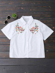 Floral Embroidered Button Up Top - White M