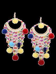 Fuzzy Ball Beaded Finged Tassel Earrings - Multicolor