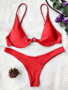 Push Up Plunge Bathing Suit - Red L