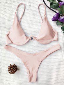 Push Up Plunge Bathing Suit - Pink M