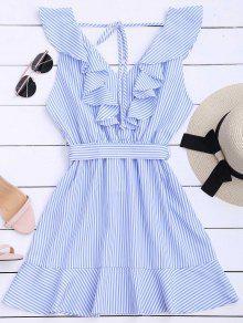 فستان مربوط مخطط كشكش الحاشية - شريط S