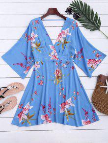 Raglan Sleeve Floral Surplice A-Line Dress - Floral Xl