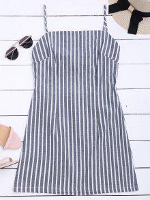 فستان مستقيم كامي مخطط ربطة ذاتية - شريط S