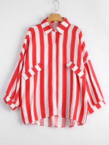 Oversized Button Up Striped Blouse - Red