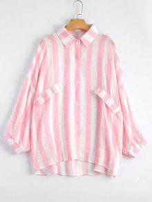 Oversized Button Up Striped Blouse - Light Pink