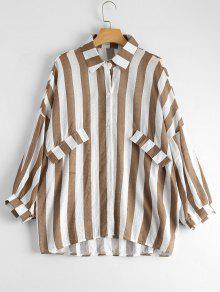 Oversized Button Up Striped Blouse - Khaki