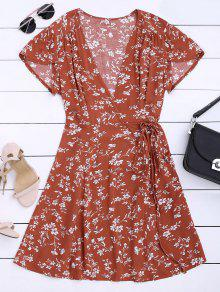 Floral Print Self Tie Wrap Dress - Floral L