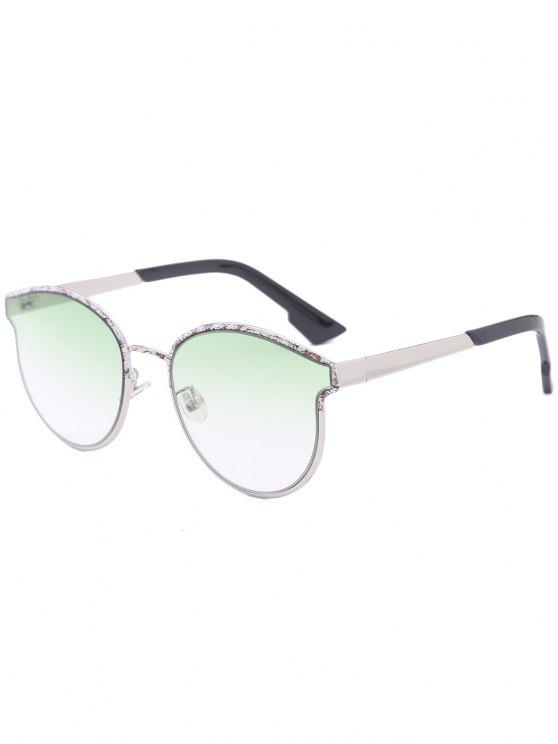 women Butterfly Piebald Frame Spliced Sunglasses - GREEN