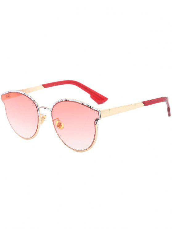 womens Butterfly Piebald Frame Spliced Sunglasses - WINE RED