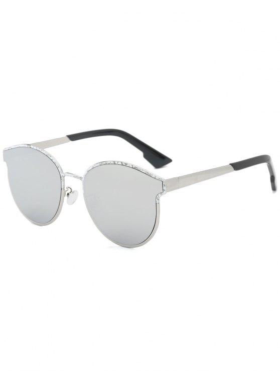 Butterfly Piebald Frame Spliced ​​Sunglasses - Prateado