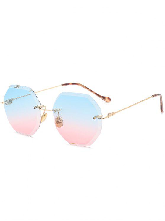 latest Ombre Geometric Rimless Sunglasses - BLUE AND PINK