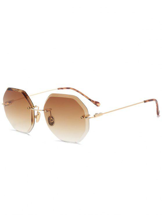 Ombre Geometrische randlose Sonnenbrille - Dunkelbraun