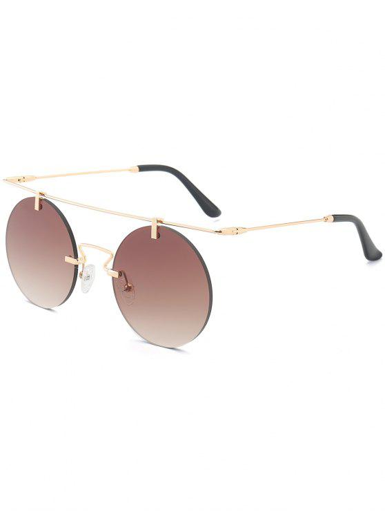 792c55b2fb9 2019 Long Straight Crossbar Round Mirrored Rimless Sunglasses In TEA ...