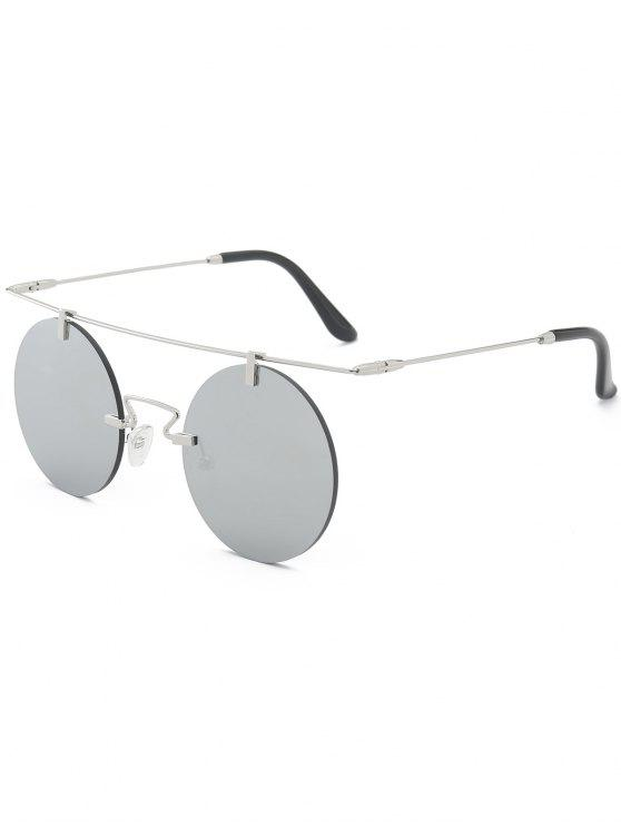 fashion Long Straight Crossbar Round Mirrored Rimless Sunglasses - SILVER