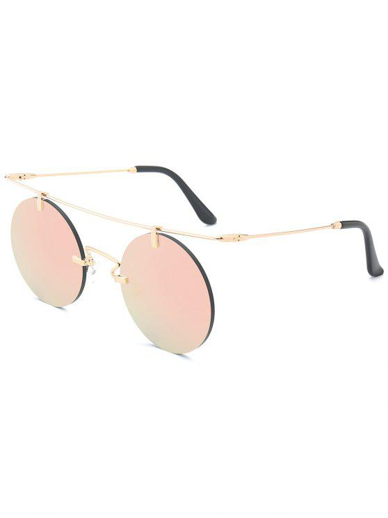 trendy Long Straight Crossbar Round Mirrored Rimless Sunglasses - PINK