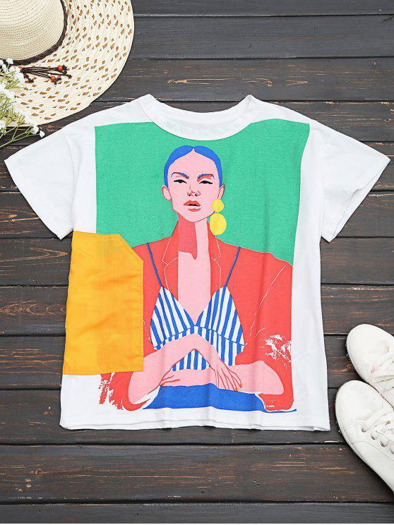 fashion Cotton Figure Graphic T-Shirt - WHITE L