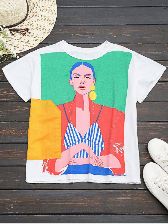 fancy Cotton Figure Graphic T-Shirt - WHITE S