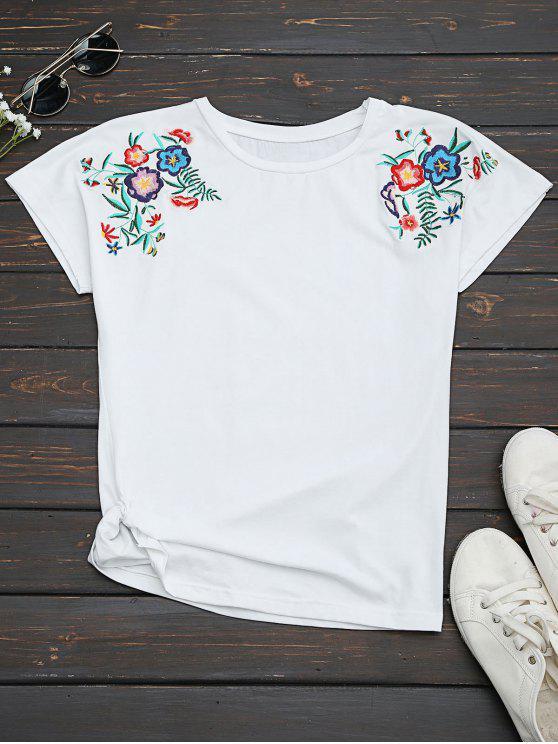 Camiseta bordada floral del algodón drapeado - Blanco S