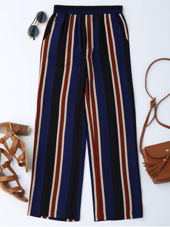 outfit High Waisted Stripes Wide Leg Pants - BLUE L