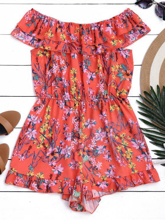 fashion Layered Ruffles Off Shoulder Romper - FLORAL S