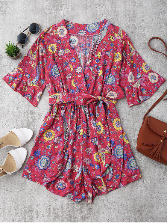 Belted Floral Ruffles Surplice Romper - Floral S
