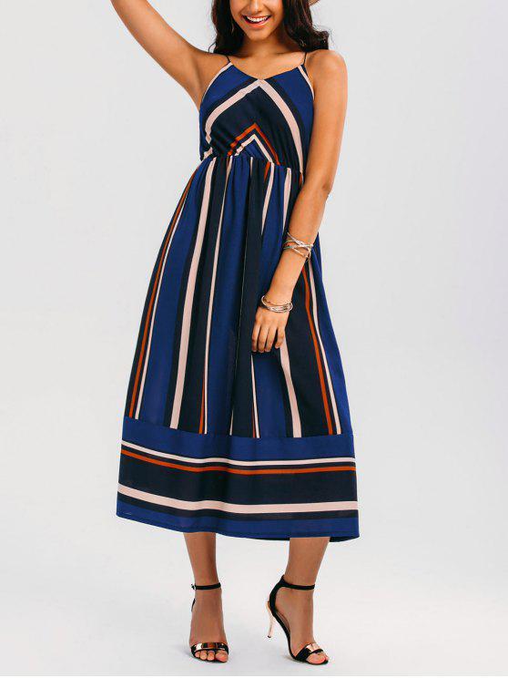 Maxi Vestido de Sol de Vacación a Rayas - Azul M