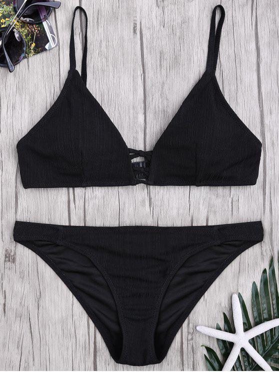 Criss Cross Spaghetti Strap Texture Bikini Set - Preto S