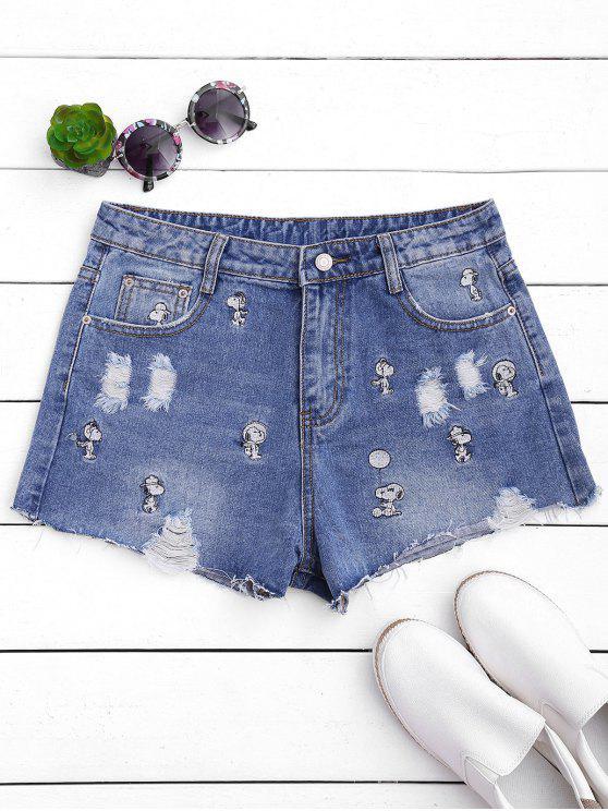 ladies Puppy Embroidered Destroyed Denim Shorts - DENIM BLUE XL