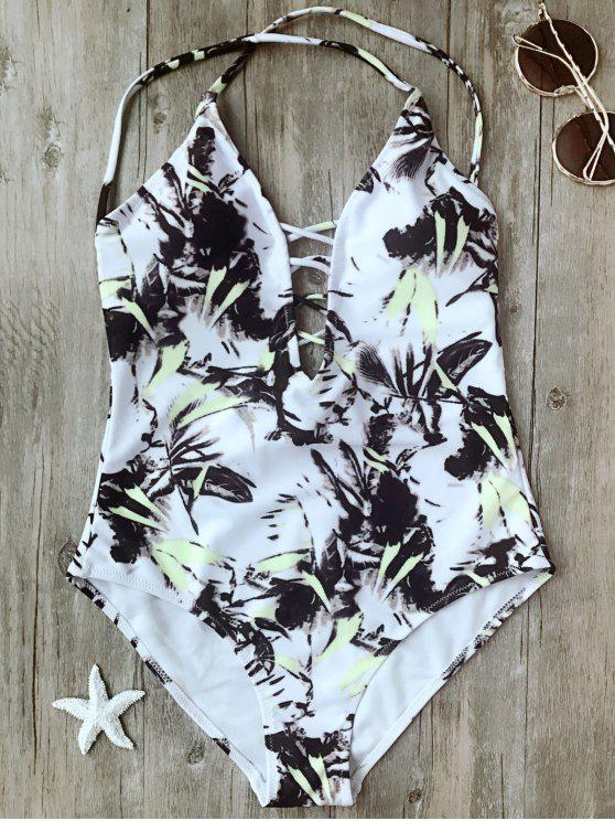 new Printed Crisscross Plunge One Piece Swimsuit - WHITE L